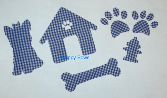 Puppy Bows ~ craft items YORKIE no sew iron on appliques dog set house bone fire hydrant paw prints