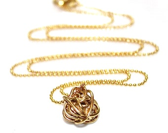 Woven Ball Necklace Gold Woven Necklace Simple Necklace Gold Necklace Stacking Necklace Layering Necklace Spring Necklace Graduation Gift