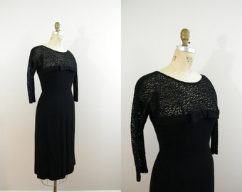 Vintage 1960s Dress / Wiggle Dress / Black Wool and Lace