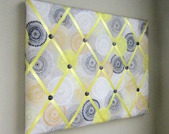 "16""x20"" French Memory Board or Bow Holder Yellow, Grey, Orange, White  Medallion, Bow Board, Memo Board, Photo Display, Vision Board"