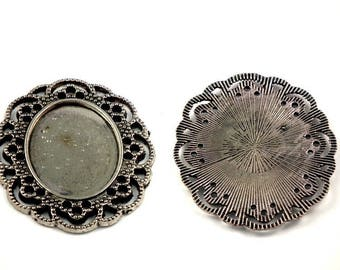 X 3 support 41x35mm oval antique silver