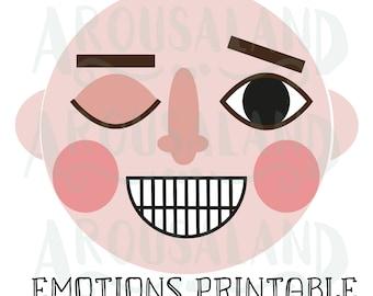 Express Emotions Head Education Printable JPG PDF PNG