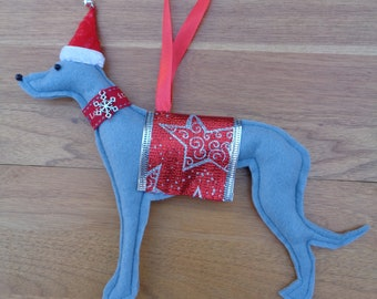 Handmade Grey felt Christmas Whippet, Greyhound, Lurcher type dog hanging decoration