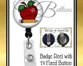 Teacher Badge Reel, Personalized Apple Badge Reel, Custom Name Badge Reel, Retractable Badge Reel, Custom School Badge Reel, BRT002