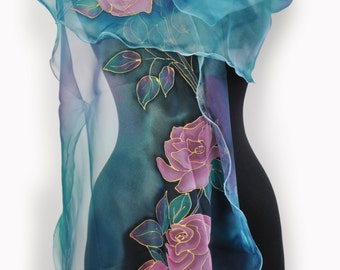 Roses in blue/Painted silk scarf/Hand Painted Silk scarf/Woman silk chiffon scarf/Accessory/Blue flowers Painted on hand/Long  shawl/S0186