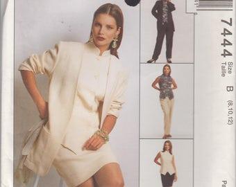 Skirt Pattern Long Jacket Pants Vest Wardrobe Misses Size 8 - 10 - 12 Uncut McCalls 7444