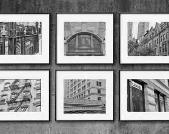Black and white New York buildings photography set of 6 prints, new york city prints, New York wall art, urban wall decor, nyc pictures