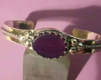 Silver Bracelet with Purple Chalcedony