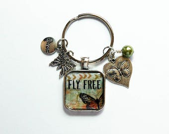 Butterfly Keychain, Fly Free keyring, stocking stuffer, gift for her, keychain with charms, butterfly keyring, keyring charms, green (8311)