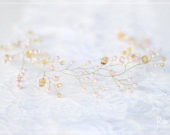 Wedding vine with crystals and pearls, Gold and baby pink diadem, Wedding hair vine, Pearl headpiece, Bridal hair halo, Wedding tiara