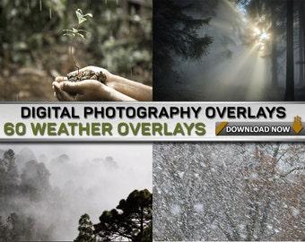 60 WEATHER OVERLAYS : 15 Snow Overlays - 15 Rain Overlays - 15 Fog Overlays - 15 Sun Flare Overlays, Digital Background, Digital Backdrop