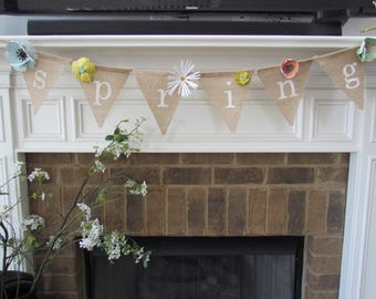 Spring Burlap Banner, Pennant Banner, Decoration with Paper Flower Detail