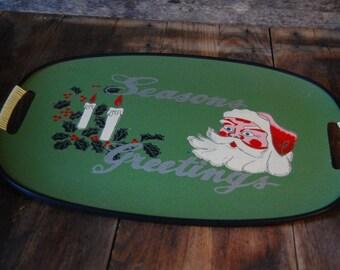 laquer wear Santa Claus beverage tray - Seasons Greetings - green handled with black trim