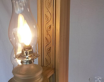 Antiqued Wood Floor Lamp With Dim Able Electrified Kerosene Glass Lamps,  Farm House,