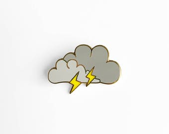 Lightning Cloud Enamel Pin - Sleepy Mountain Gold Pin