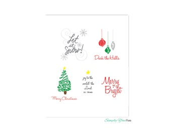Christmas Wall Art, SET OF  5, Instant Download, Size 8x10, Merry and Bight, Joy to the World, Printable files