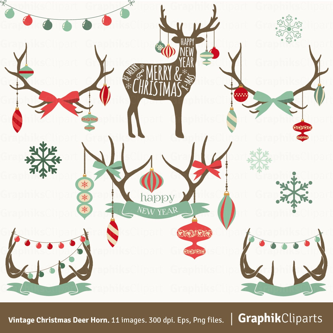 vintage christmas deer horn clipart christmas clip rh etsy com vintage christmas clipart vintage christmas clip art black and white