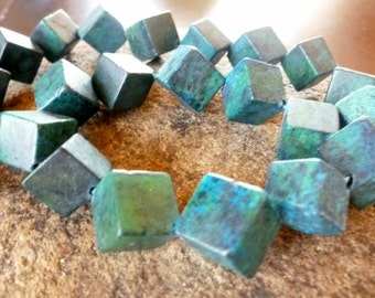 Yellow Turquoise Beads - Dice Beads - Cube Beads - Gemstone Beads - Earring Beads - Turquoise Beads - Boho Jewelry Design - Geometric Beads