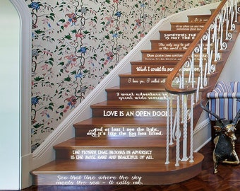 Classic Disney Princess Quote set of 12 for Stairs or Wall Vinyl Decal Perfect for Stair Risers Favorite Snow White Cinderella Frozen Mona