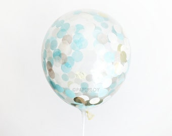 "Confetti Balloon - Baby Blue and Gold - Choose 12, 16, 18, 36 inch - Large & Small - Ivory Champagne 1"" Circle Filled - Tissue Paper Decor"