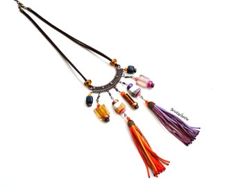 Bohemian gypsy necklace - Earth tones - Coachella style - Eclectic jewelry