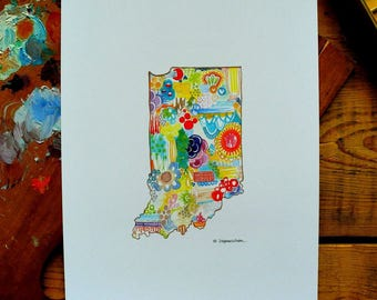 indiana - in - 8 x 10 inches