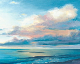 """Giclee Reproduction on 8 1/2""""x11"""" fine art paper by Daina Scarola, Sunday Morning (seascape, ocean, clouds)"""
