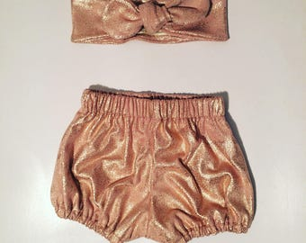 Bloomer and headband set / headband / shorts / bloomers / glitter / glitter / nude. French manufacturing