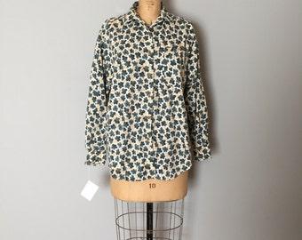 Eddie Bauer leaf blouse | oversized cotton long sleeve blouse
