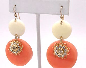 Vintage Mixed Media Coral and Crystal Earring