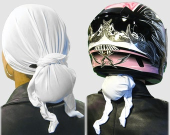 Angel White Cool/Dry Women's Helmet Liner/Do-Rag. End Helmet Hair. No More Tangles/No More Knots! Just Beautiful Hair at Your Next Stop!