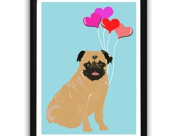 Pug with balloons  - Fine art print, sketch, black and white, pug face, pug dog art