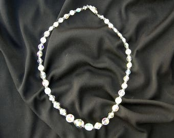 Simple Crystal Necklace, fancy crystal flower clasp, AB finish, for a wedding or gift, for a tween/teen - first fancy necklace