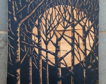 Trees with full moon, Moon painting, Tree Art