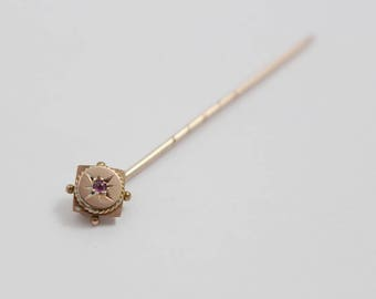 Small Square and Round Victorian Ruby Stick Pin Cravat Pin Stamped 9ct Gold