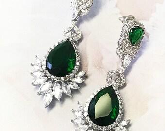 Bridal jewelry, Bridal earrings, Wedding jewelry, Cubic zircon crystal earrings, Red Emerald Green Sapphire Blue earrings, Ballroom jewelry