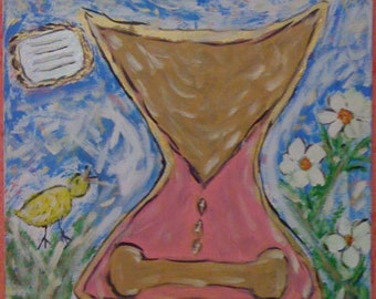"20x20 Original Acrylic Painting on Canvas, ""Hourglass"""