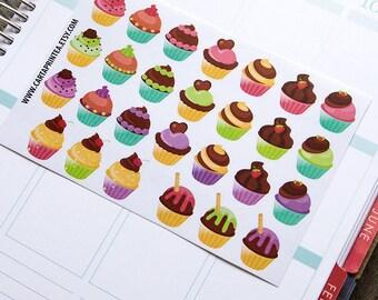 27 cupcake stickers, muffin sticker, baking stickers, baker food stickers, planner stickers, cooking eclp filofax happy planner kikkik
