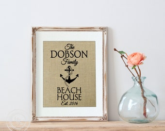 Personalized Wall Decor for Beach House, Burlap Personalized Beach House, boat anchor, Coastal Decor, Cottage decor, Cottage Chic Decor
