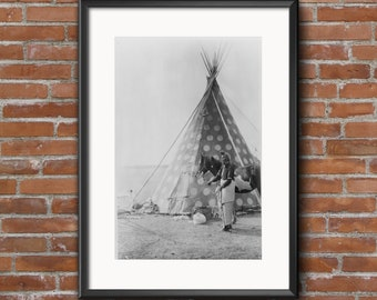 A Blackfoot Native American with His Tipi