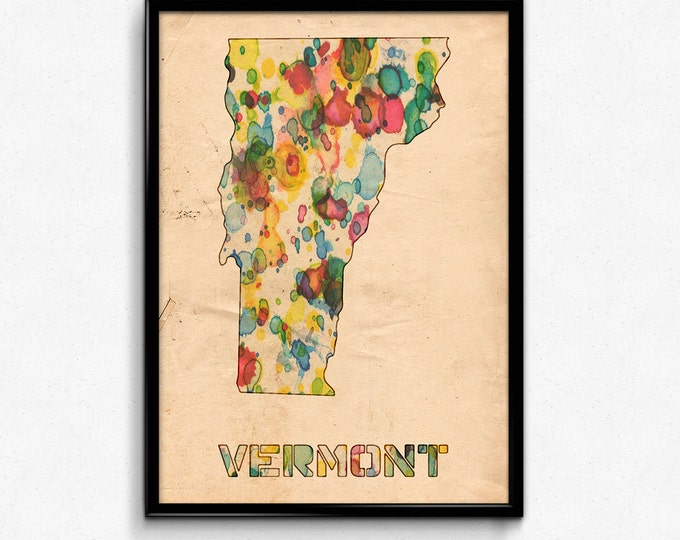 Vermont Map Poster Watercolor Print - Fine Art Digital Painting, Multiple Sizes - 12x18 to 24x36 - Vintage Paper Colors Style