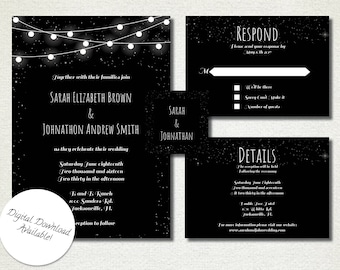 Starry Night Sky Invitation Suite