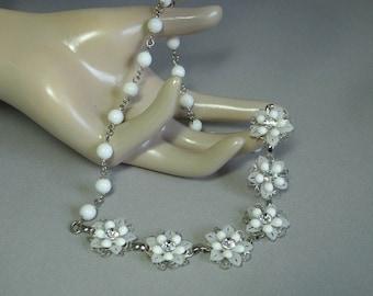 Milkglass & Crystal Rhinestone Flower Necklace
