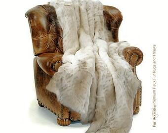 Plush Faux Fur Throw Blanket, Bedspread - Luxury Fur - Light Brown Spotted Snow Leopard - Minky Cuddle Fur Lining - Fur Accents USA