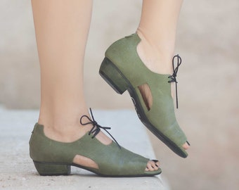 Women Leather Sandals, Heeled Sandals, Green Leather Sandals, Oxfords, Summer Shoes, Heels,