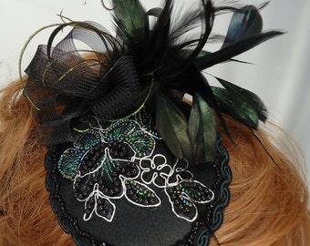 Fascinator Hat, Black Mini Hat, Teardrop Hat, Wedding Fascinator, REX15-3018