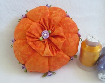 Orange Pincushion, Purple Roses, Sewing Room Accessory, Pin Keep, Seamstress Gift, Quilter's Gift