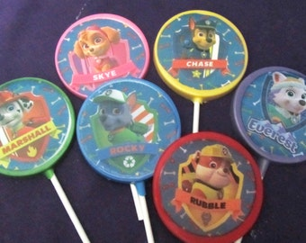 Paw Patrol 12 chocolates lollipops