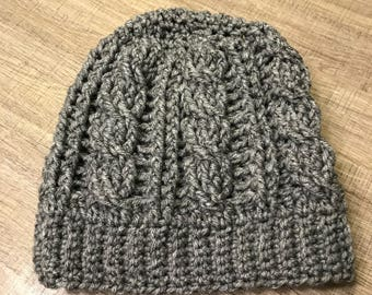 Grey Cable Crochet Beanie