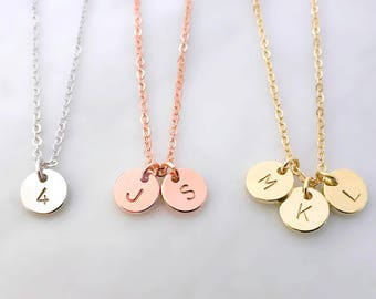 Personalized Custom Round Gold, Silver, Rose Gold Disc Charm Necklace, Hand Stamped Letter, Initial Coin Pendant, Bridesmaid gift